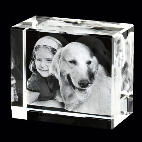 Photo gravée dans un bloc de verre en 3D